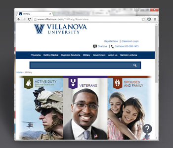 Villanova-Military site. Credit to my entire agile team. Special credit to Chris Simard/Art Director and Matt Mohl/Developer.